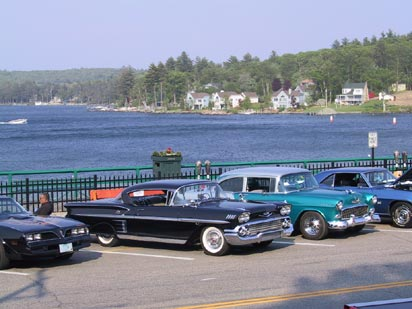 Classic Cars Along the Weirs Beach Boardwalk