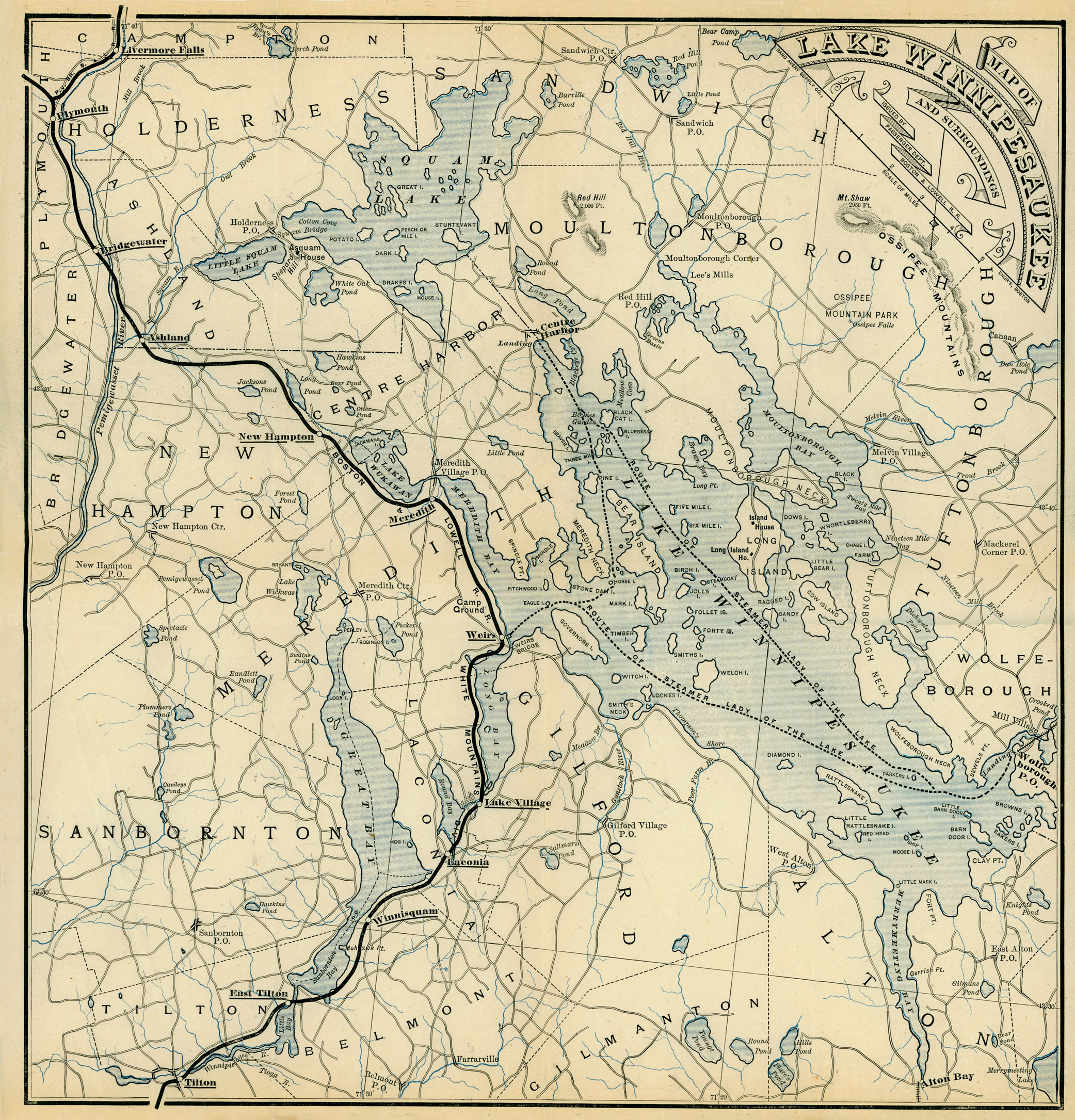 1885 Map of Lake Winnipesaukee WEIRS BEACH WHERE LAKE
