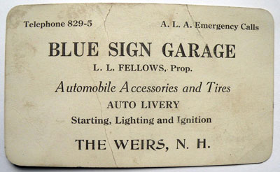 Blue Sign Garage business card